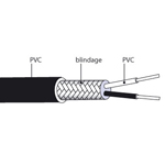 Câble de compensation ou d'extension thermocouple J isolation PVC blindé PVC