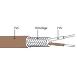 Câble de compensation ou d'extension thermocouple T isolation PVC blindé PVC